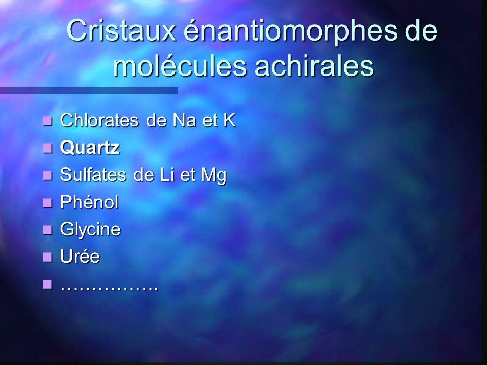 Cristaux énantiomorphes de molécules achirales Cristaux énantiomorphes de molécules achirales Chlorates de Na et K Chlorates de Na et K Quartz Quartz