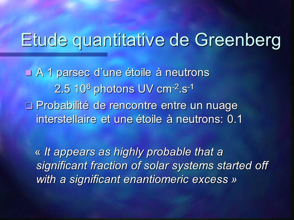 Etude quantitative de Greenberg Etude quantitative de Greenberg A 1 parsec dune étoile à neutrons A 1 parsec dune étoile à neutrons 2.5 10 6 photons U