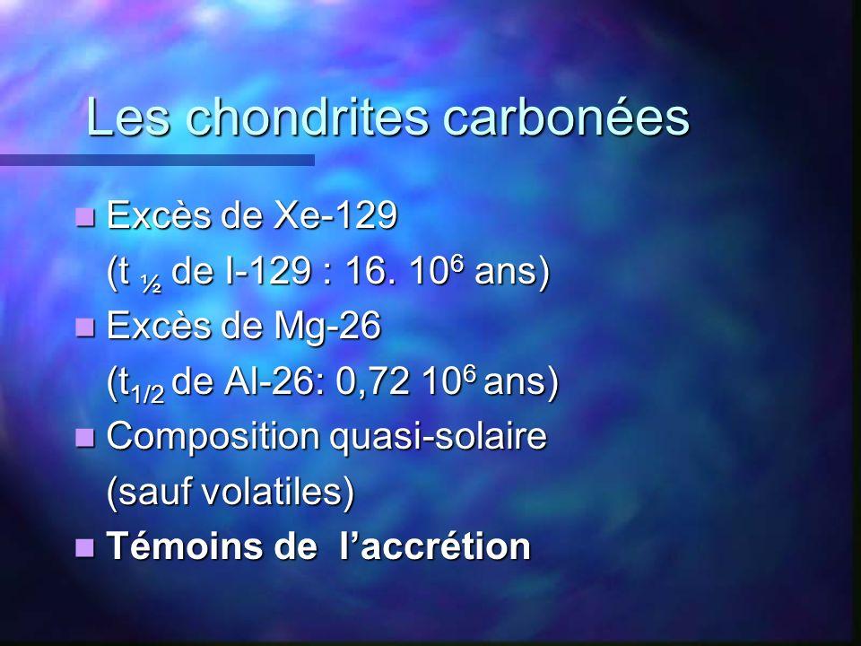 Les chondrites carbonées Excès de Xe-129 Excès de Xe-129 (t ½ de I-129 : 16. 10 6 ans) Excès de Mg-26 Excès de Mg-26 (t 1/2 de Al-26: 0,72 10 6 ans) C