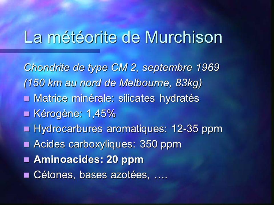 La météorite de Murchison Chondrite de type CM 2, septembre 1969 (150 km au nord de Melbourne, 83kg) Matrice minérale: silicates hydratés Matrice miné