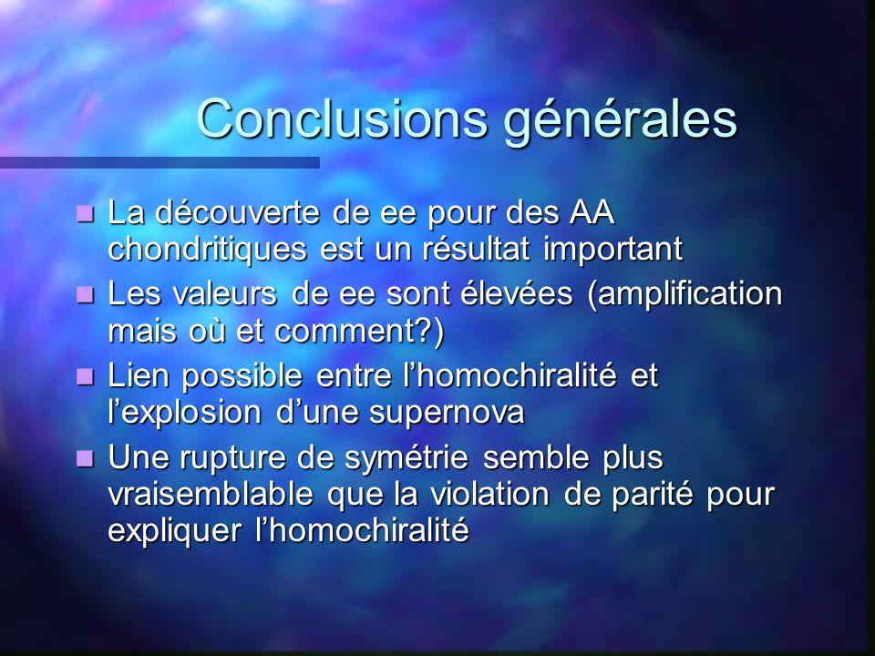 Conclusions générales Conclusions générales La découverte de ee pour des AA chondritiques est un résultat important La découverte de ee pour des AA ch