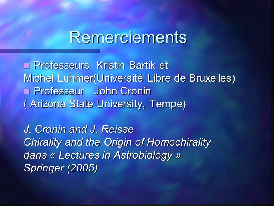 Remerciements Remerciements Professeurs Kristin Bartik et Professeurs Kristin Bartik et Michel Luhmer(Université Libre de Bruxelles) Professeur John C