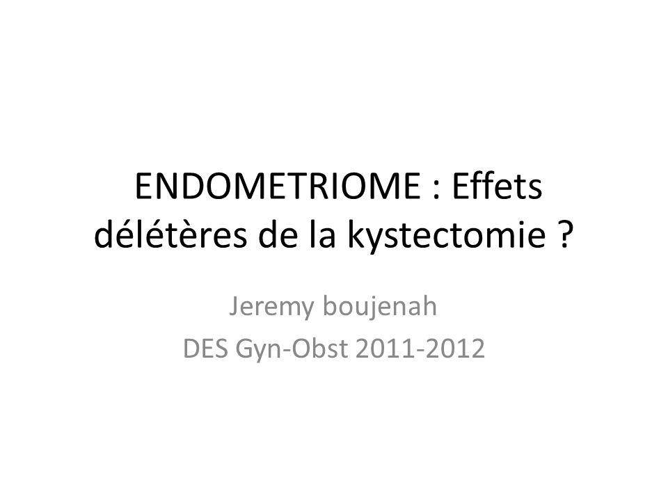 ENDOMETRIOME : Effets délétères de la kystectomie ? Jeremy boujenah DES Gyn-Obst 2011-2012