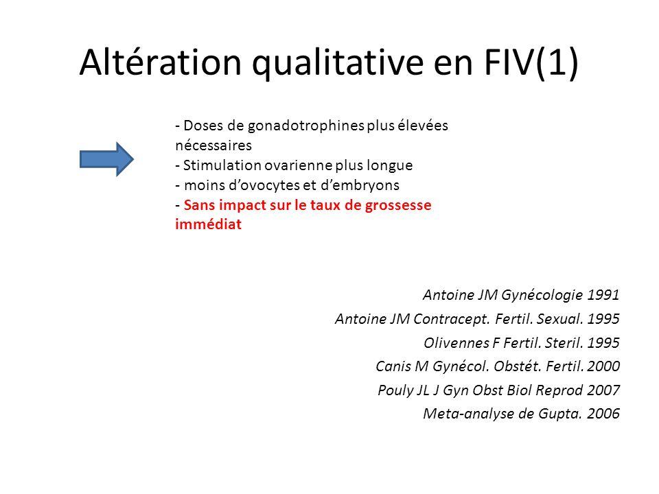 Altération qualitative en FIV(1) Antoine JM Gynécologie 1991 Antoine JM Contracept. Fertil. Sexual. 1995 Olivennes F Fertil. Steril. 1995 Canis M Gyné