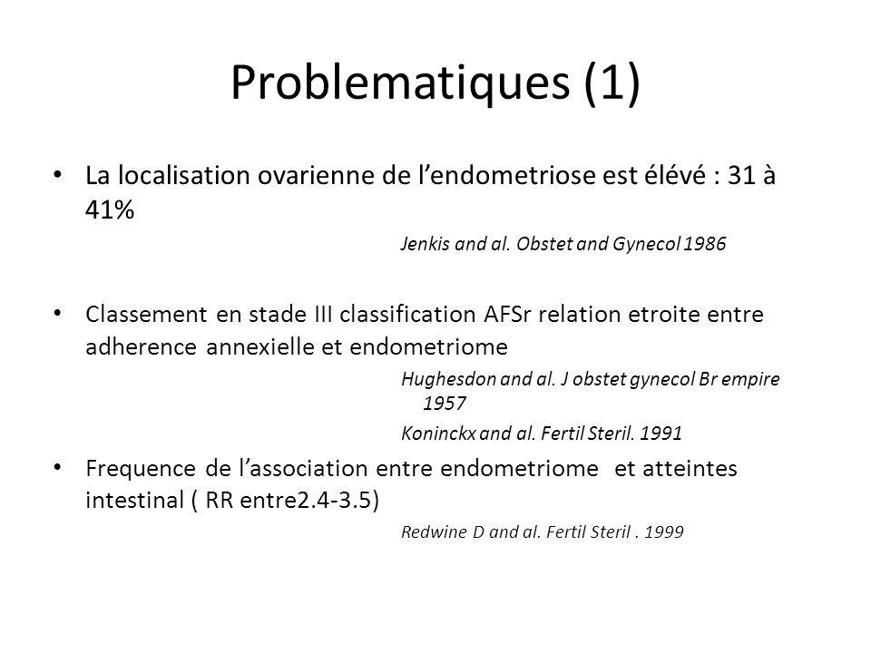Problematiques (1) La localisation ovarienne de lendometriose est élévé : 31 à 41% Jenkis and al. Obstet and Gynecol 1986 Classement en stade III clas