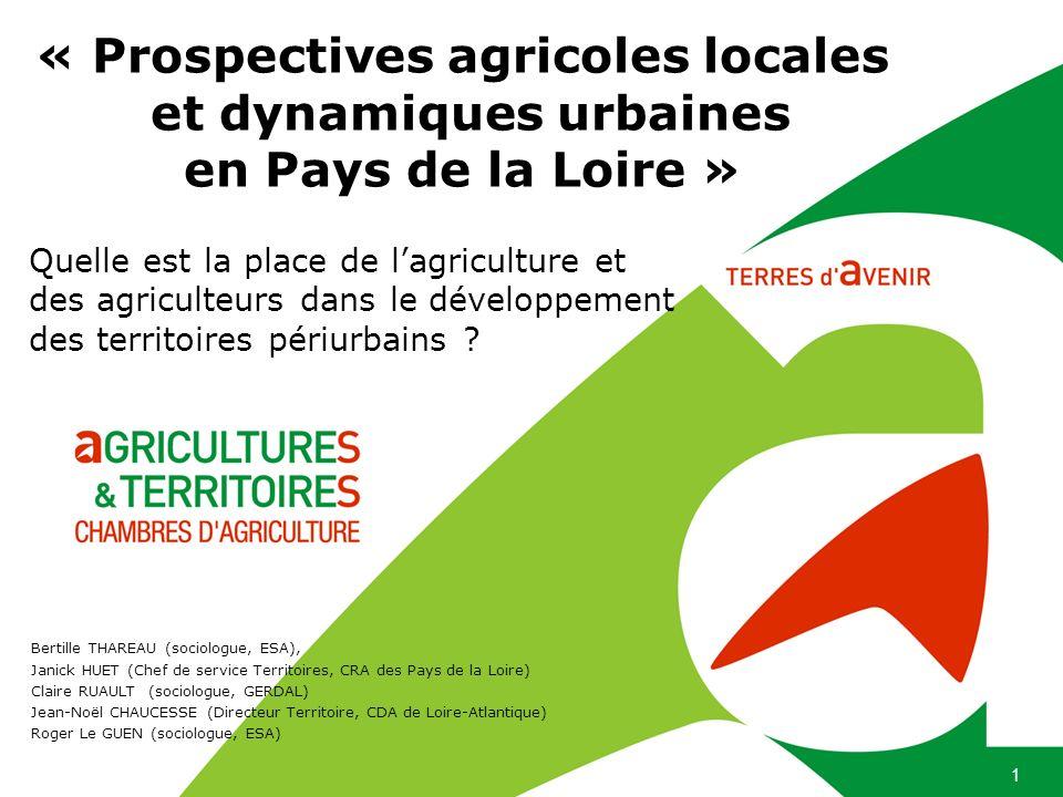 1 « Prospectives agricoles locales et dynamiques urbaines en Pays de la Loire » Quelle est la place de lagriculture et des agriculteurs dans le dévelo