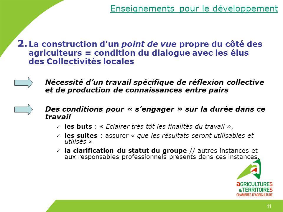 11 2. La construction dun point de vue propre du côté des agriculteurs = condition du dialogue avec les élus des Collectivités locales Nécessité dun t