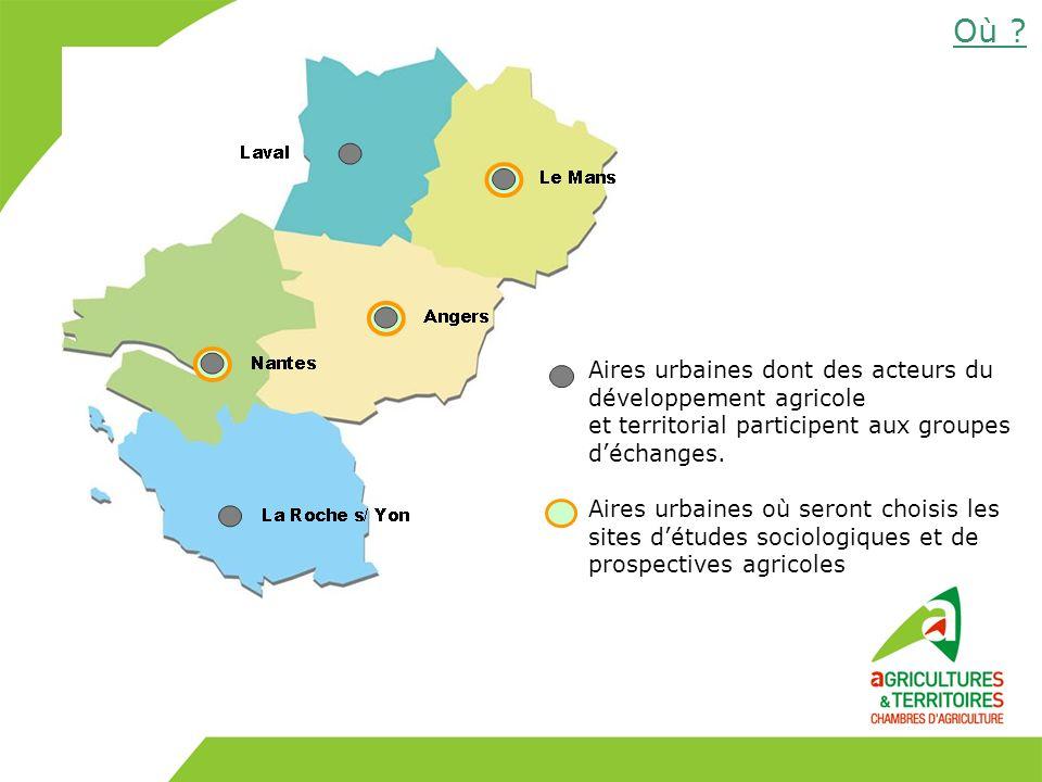 Aires urbaines dont des acteurs du développement agricole et territorial participent aux groupes déchanges. Aires urbaines où seront choisis les sites