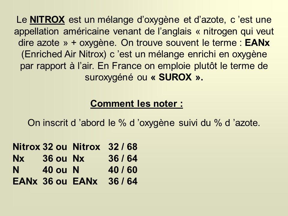 Le NITROX est un mélange doxygène et dazote, c est une appellation américaine venant de langlais « nitrogen qui veut dire azote » + oxygène.