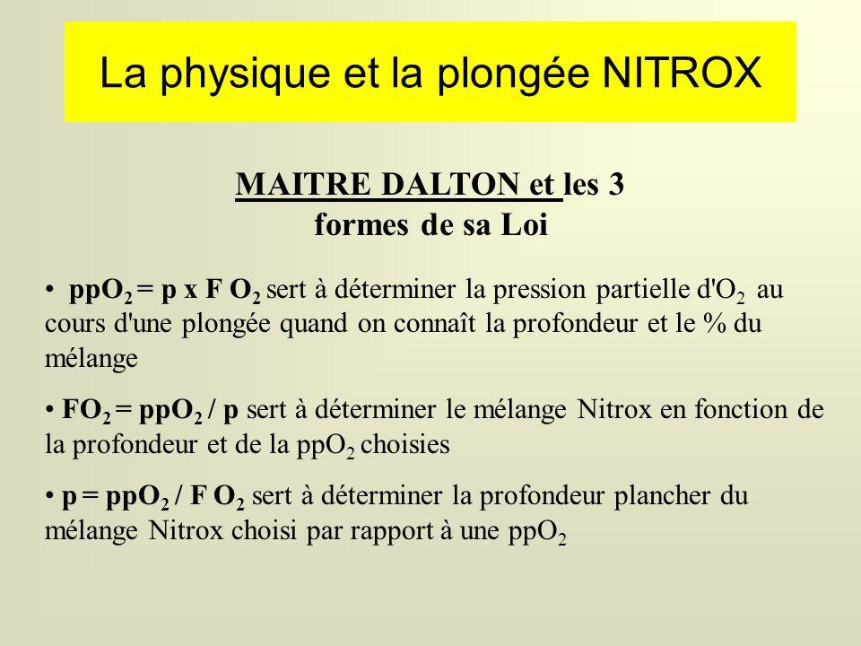 La physique et la plongée NITROX MAITRE DALTON et les 3 formes de sa Loi ppO 2 = p x F O 2 sert à déterminer la pression partielle d O 2 au cours d une plongée quand on connaît la profondeur et le % du mélange FO 2 = ppO 2 / p sert à déterminer le mélange Nitrox en fonction de la profondeur et de la ppO 2 choisies p = ppO 2 / F O 2 sert à déterminer la profondeur plancher du mélange Nitrox choisi par rapport à une ppO 2