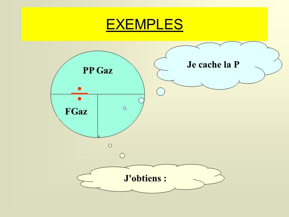 FGaz EXEMPLES Je cache la P J obtiens : PP Gaz