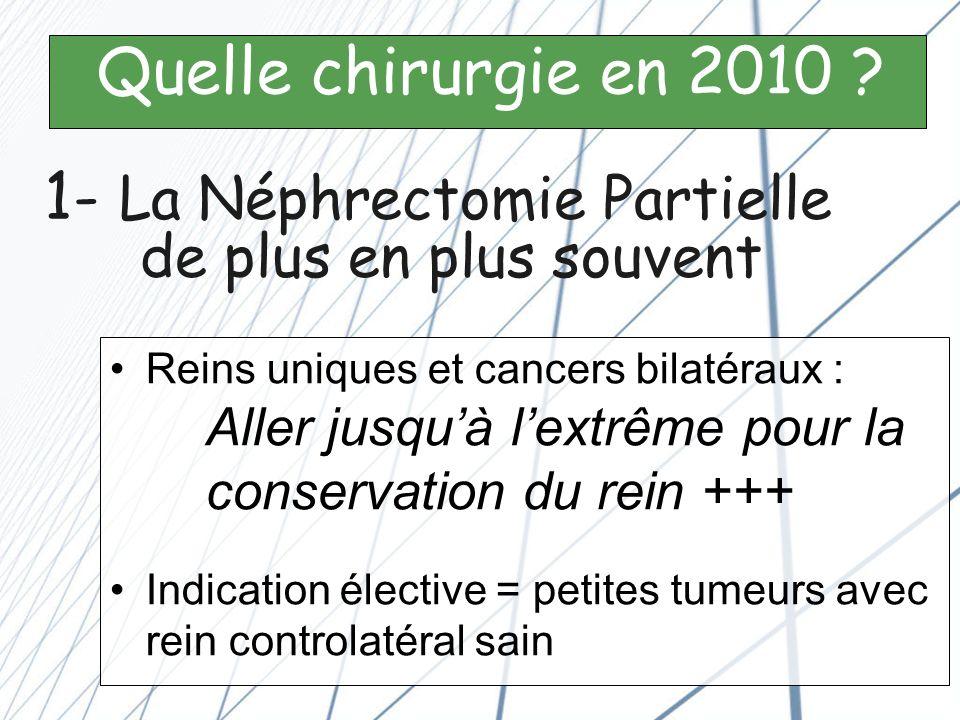 Néphrectomie Partielle : La voie ouverte reste la référence « La voie dabord na aucune importance pourvu quon assure une résection complète de la tumeur avec une préservation satisfaisante du parenchyme ».
