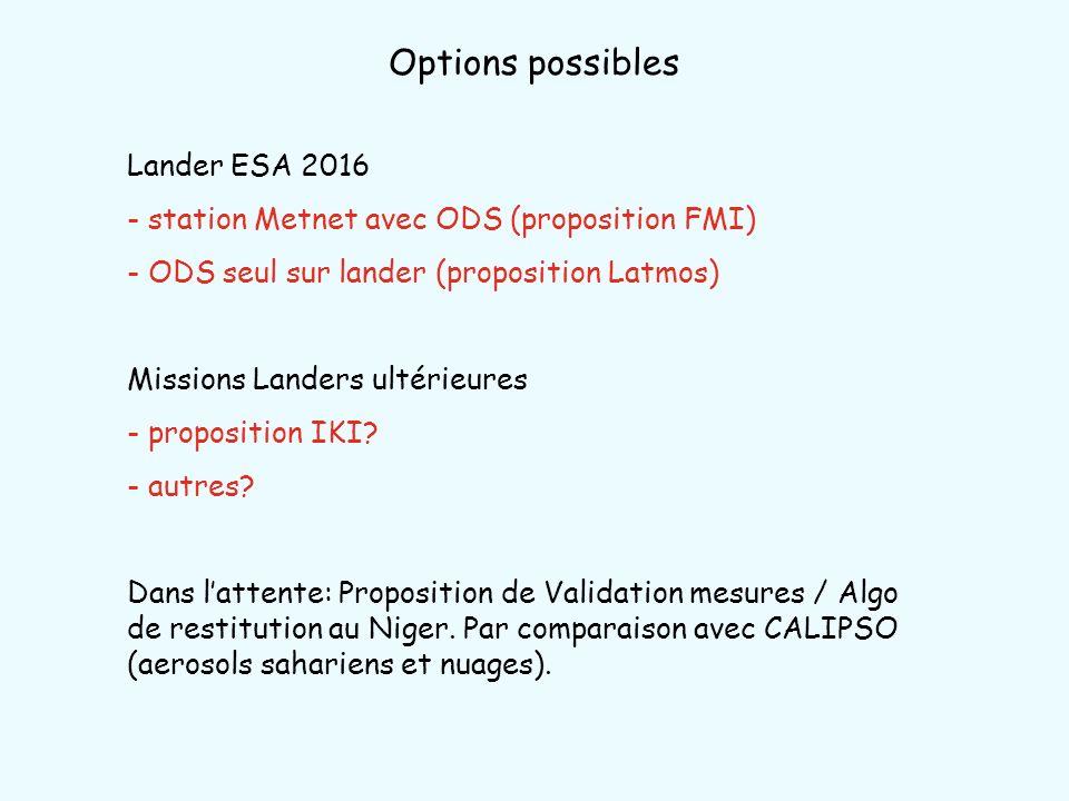 Options possibles Lander ESA 2016 - station Metnet avec ODS (proposition FMI) - ODS seul sur lander (proposition Latmos) Missions Landers ultérieures