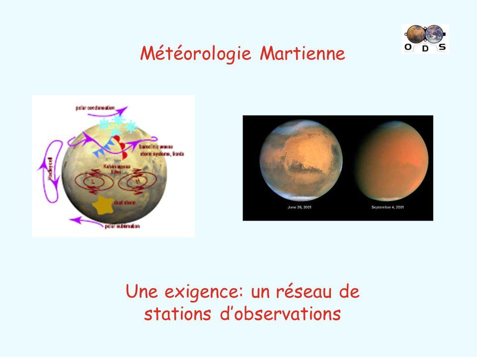 Météorologie Martienne Une exigence: un réseau de stations dobservations