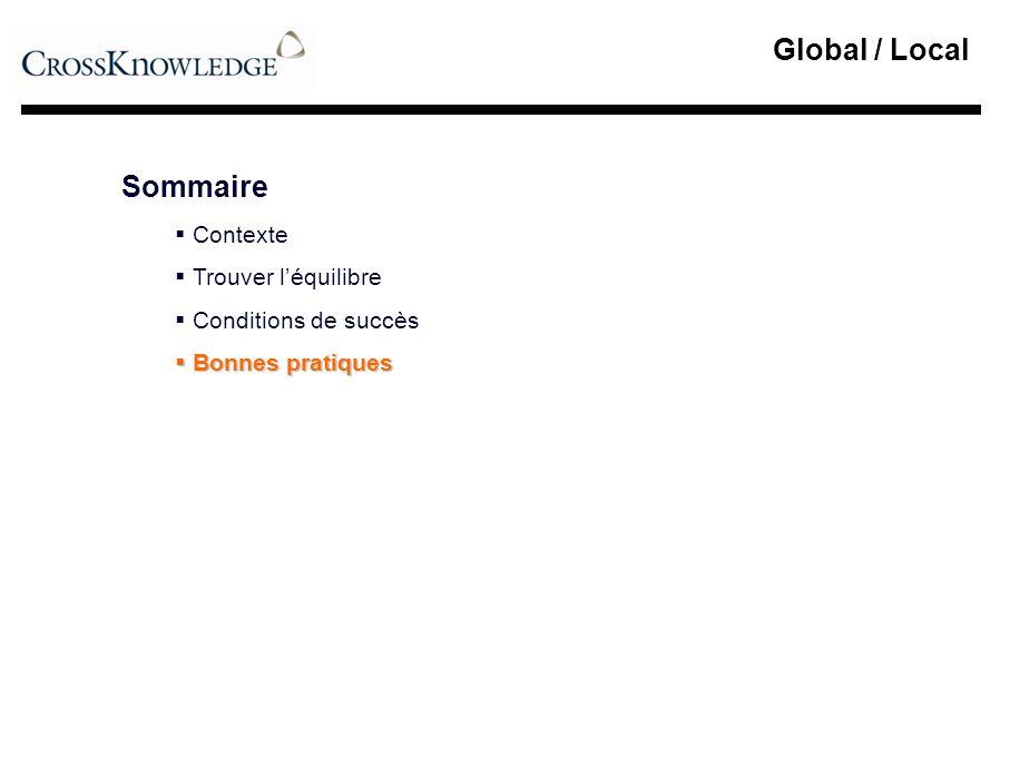 Global / Local Sommaire Contexte Trouver léquilibre Conditions de succès Bonnes pratiques Bonnes pratiques