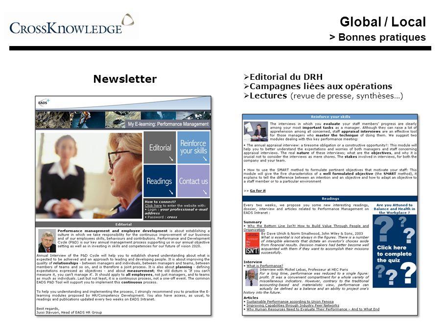Newsletter Editorial du DRH Campagnes liées aux opérations Lectures (revue de presse, synthèses…) Global / Local > Bonnes pratiques