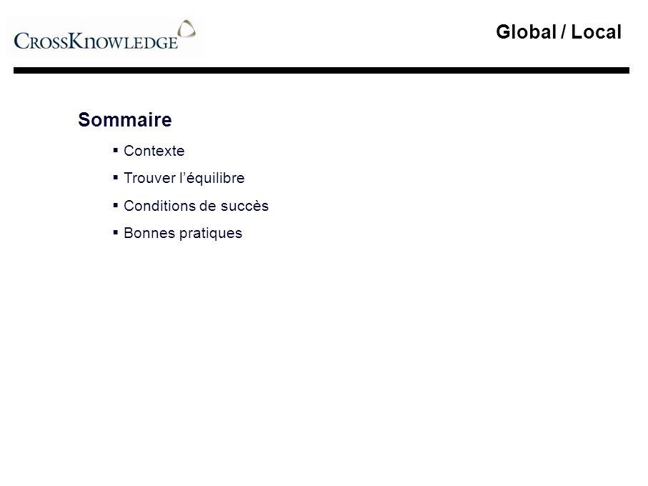 Global / Local > Conditions de succès Mener une action simultanément à trois niveaux : Politique > Direction Générale Stratégique > Communauté RH Création dune marque RH / L&D Déploiement de la communication associée Animation des communautés RH / L&D Analyse et démonstration de la création de valeur