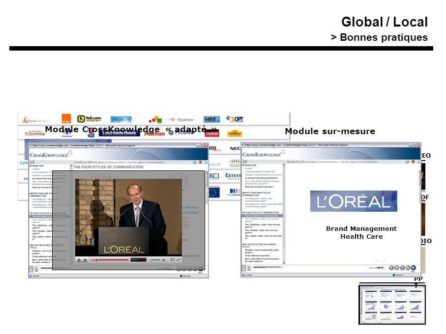Contenu « spécifique » VIDEO PDF AUDIO PP T Contenu « spécifique » VIDEO PDF AUDIO PP T Brand Management Health Care Module CrossKnowledge « adapté » Module sur-mesure Global / Local > Bonnes pratiques