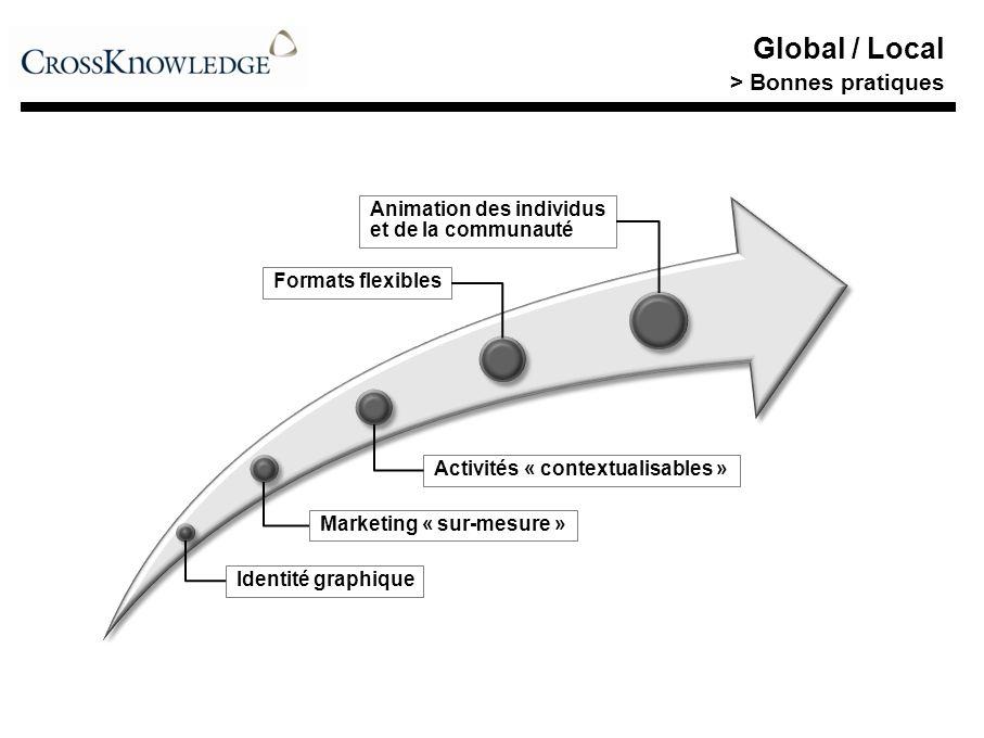 Identité graphique Marketing « sur-mesure » Activités « contextualisables » Formats flexibles Animation des individus et de la communauté Global / Local > Bonnes pratiques
