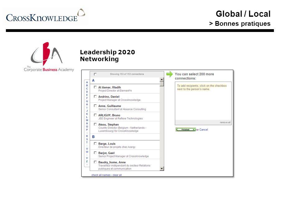 Global / Local > Bonnes pratiques Leadership 2020 Networking