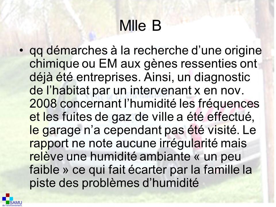 Mlle B qq démarches à la recherche dune origine chimique ou EM aux gènes ressenties ont déjà été entreprises.
