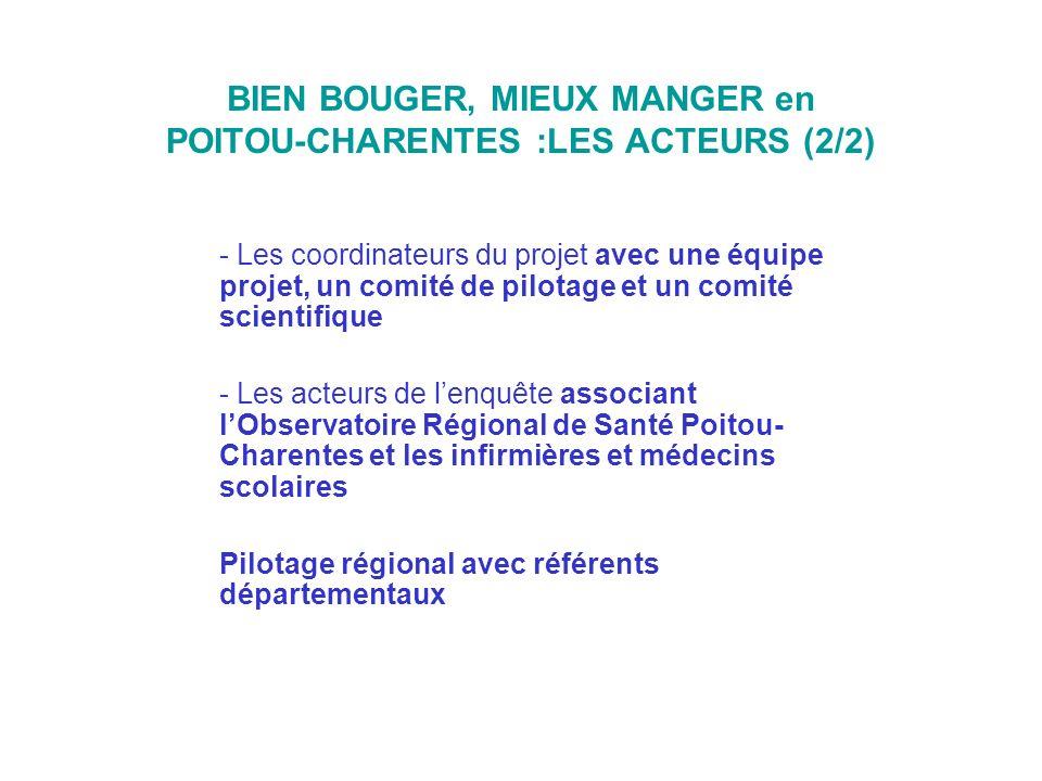 BIEN BOUGER, MIEUX MANGER en POITOU-CHARENTES :LES ACTEURS (2/2) - Les coordinateurs du projet avec une équipe projet, un comité de pilotage et un com