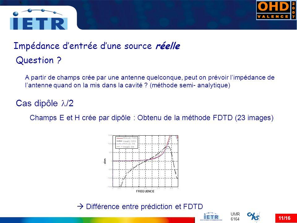 11/16 UMR 6164 Impédance dentrée dune source réelle Question ? A partir de champs crée par une antenne quelconque, peut on prévoir limpédance de lante