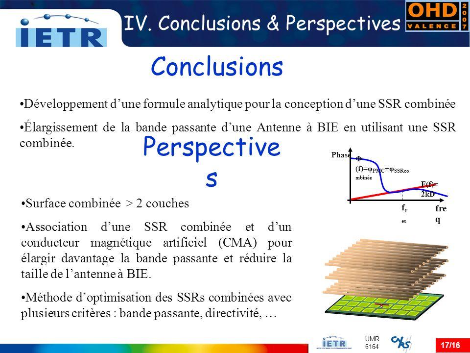 17/16 UMR 6164 IV. Conclusions & Perspectives Développement dune formule analytique pour la conception dune SSR combinée Élargissement de la bande pas