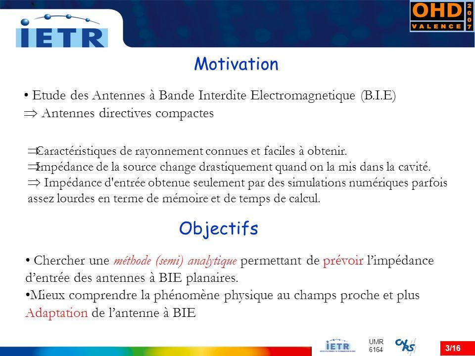 3/16 UMR 6164 Motivation Etude des Antennes à Bande Interdite Electromagnetique (B.I.E) Antennes directives compactes Caractéristiques de rayonnement