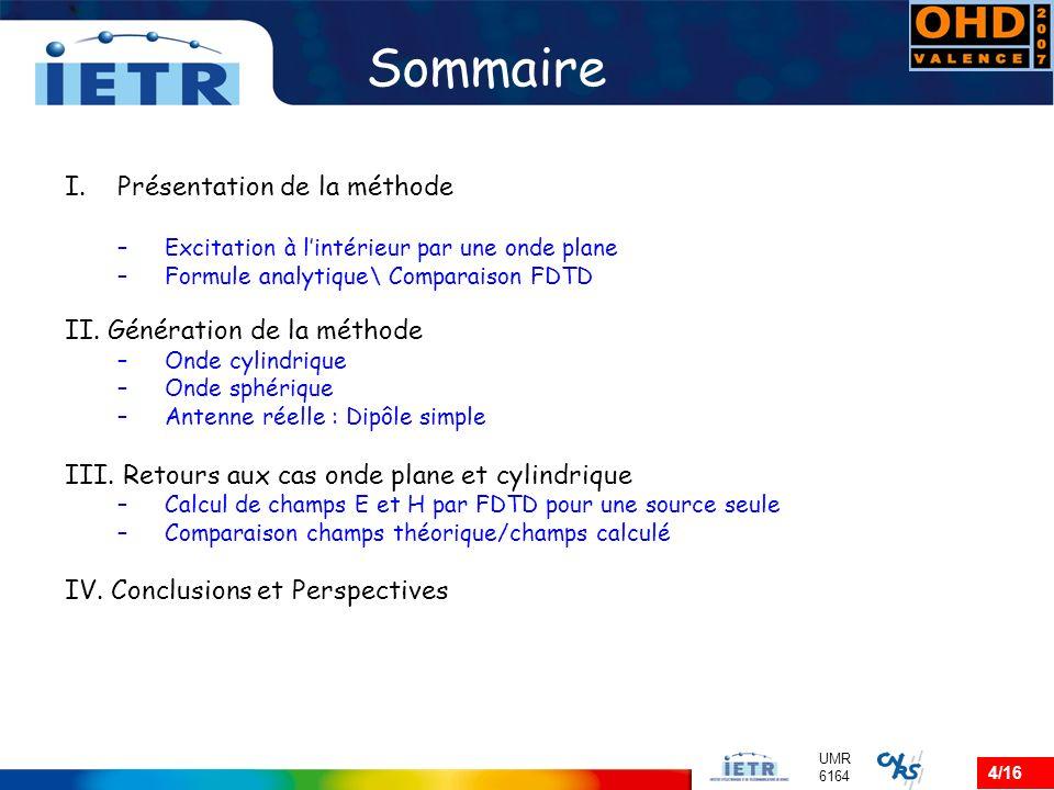 4/16 UMR 6164 Sommaire I.Présentation de la méthode –Excitation à lintérieur par une onde plane –Formule analytique\ Comparaison FDTD II. Génération d