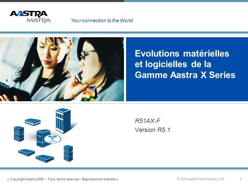 « Copyright Aastra 2008 – Tous droits réservés - Reproduction interdite » 1© 2008 Aastra Technologies, LTD. Evolutions matérielles et logicielles de l