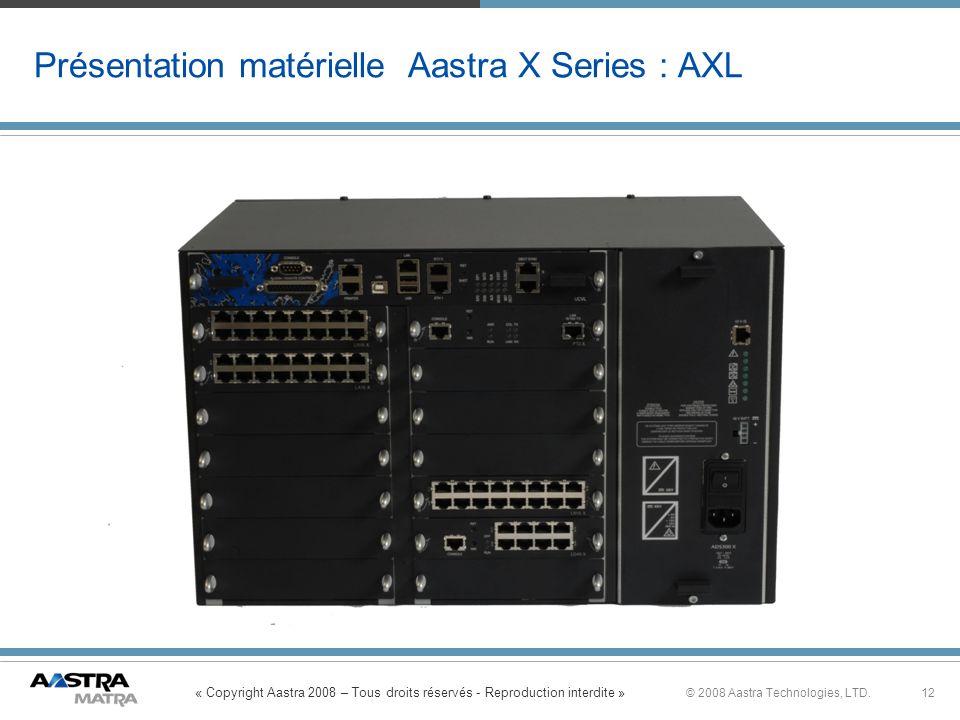 « Copyright Aastra 2008 – Tous droits réservés - Reproduction interdite » 12© 2008 Aastra Technologies, LTD. Présentation matérielle Aastra X Series :