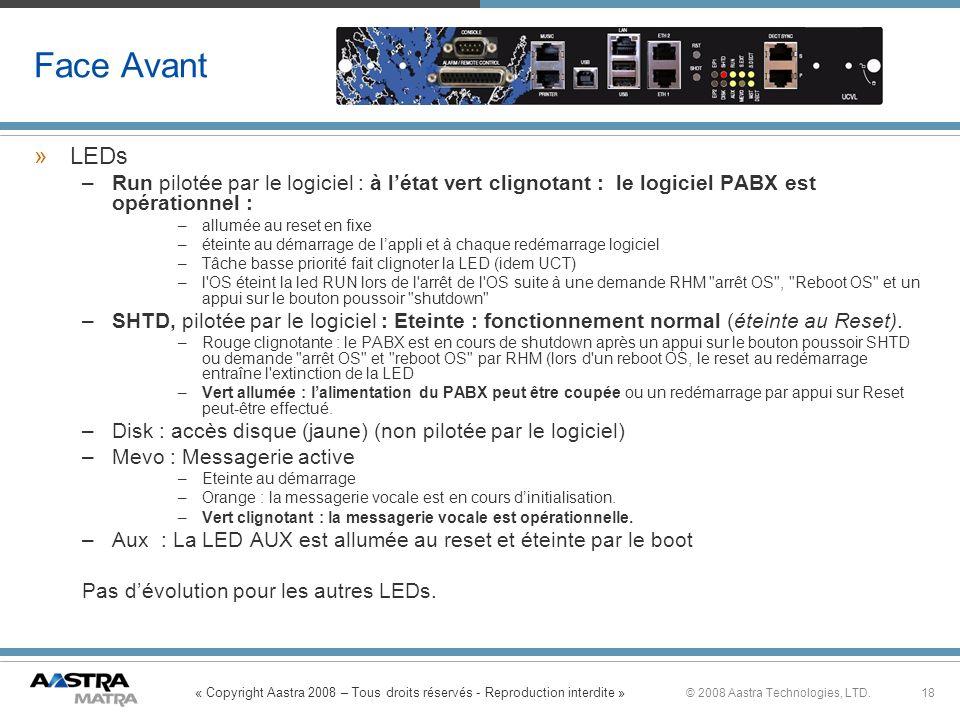 « Copyright Aastra 2008 – Tous droits réservés - Reproduction interdite » 18© 2008 Aastra Technologies, LTD. Face Avant »LEDs –Run pilotée par le logi