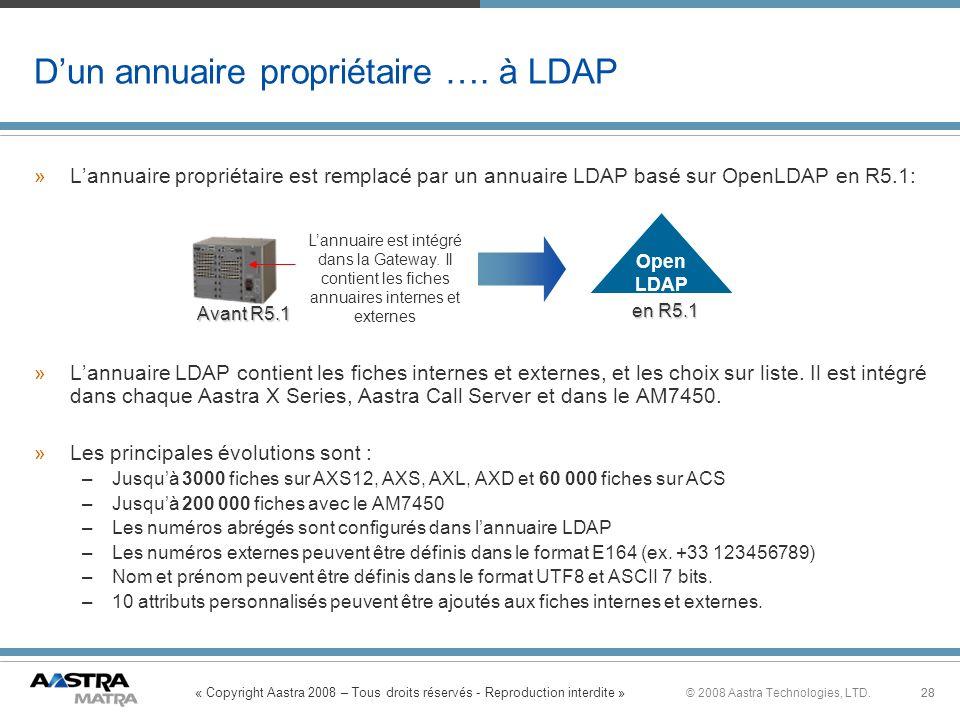 « Copyright Aastra 2008 – Tous droits réservés - Reproduction interdite » 28© 2008 Aastra Technologies, LTD.28 Dun annuaire propriétaire …. à LDAP »La