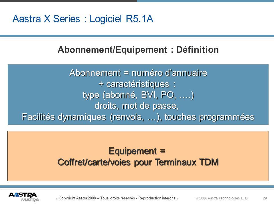 « Copyright Aastra 2008 – Tous droits réservés - Reproduction interdite » 29© 2008 Aastra Technologies, LTD.29 Aastra X Series : Logiciel R5.1A Abonne