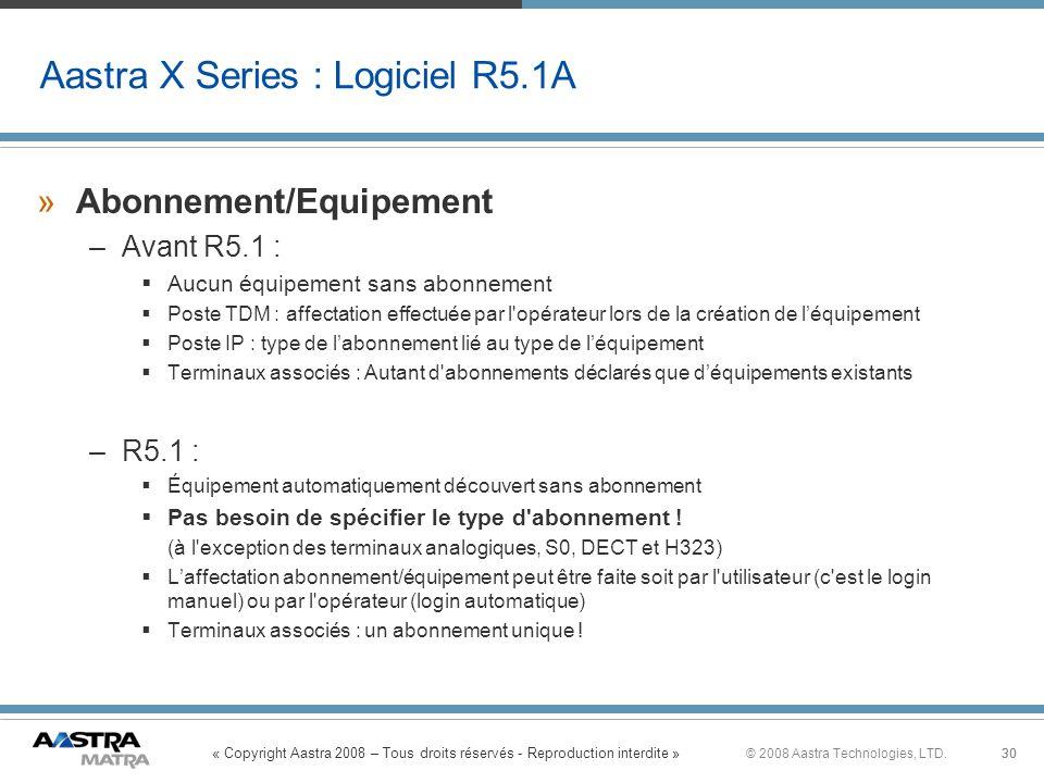 « Copyright Aastra 2008 – Tous droits réservés - Reproduction interdite » 30© 2008 Aastra Technologies, LTD.30 »Abonnement/Equipement –Avant R5.1 : Au