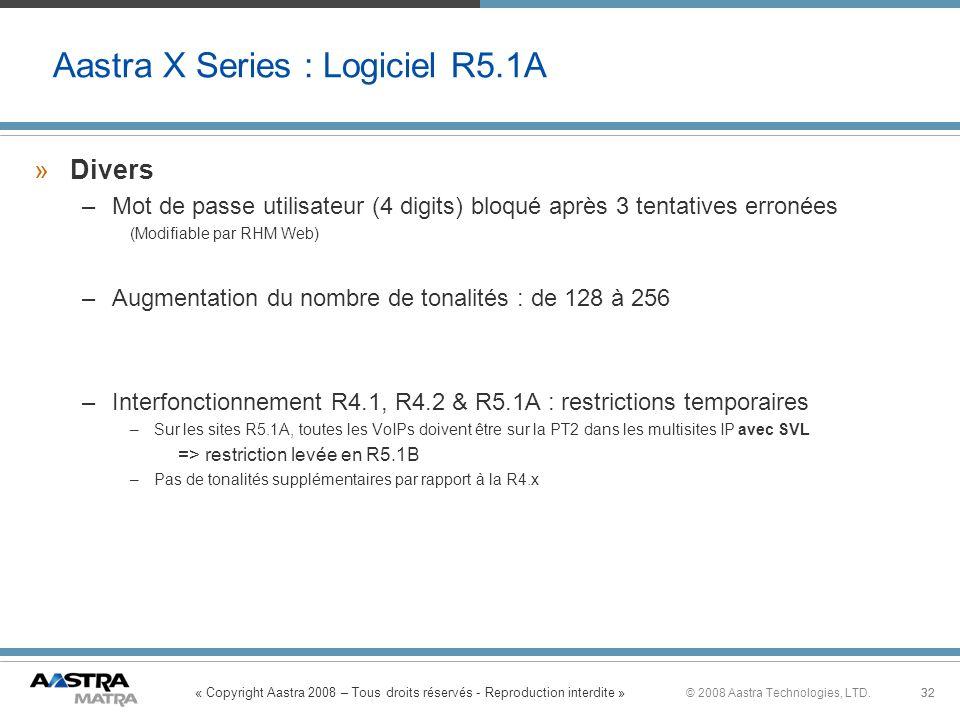 « Copyright Aastra 2008 – Tous droits réservés - Reproduction interdite » 32© 2008 Aastra Technologies, LTD.32 »Divers –Mot de passe utilisateur (4 di