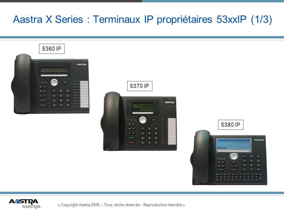 « Copyright Aastra 2008 – Tous droits réservés - Reproduction interdite » Aastra X Series : Terminaux IP propriétaires 53xxIP (1/3) 5360 IP 5380 IP 53