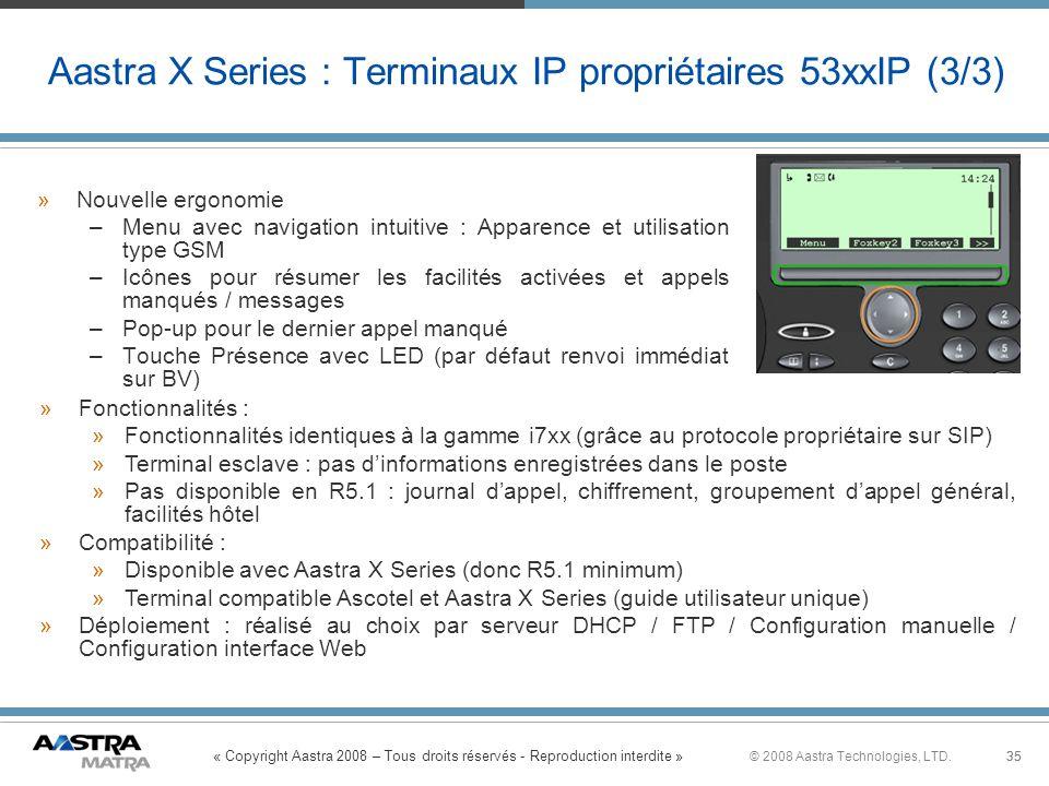 « Copyright Aastra 2008 – Tous droits réservés - Reproduction interdite » 35© 2008 Aastra Technologies, LTD.35 Aastra X Series : Terminaux IP propriét