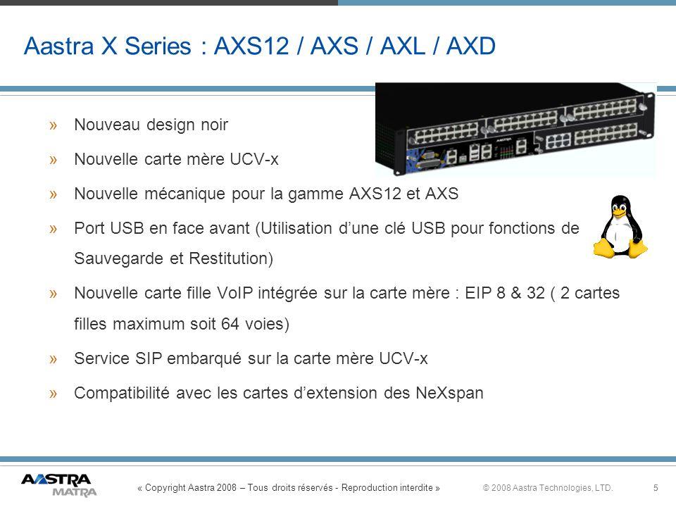 « Copyright Aastra 2008 – Tous droits réservés - Reproduction interdite » 5© 2008 Aastra Technologies, LTD.5 Aastra X Series : AXS12 / AXS / AXL / AXD