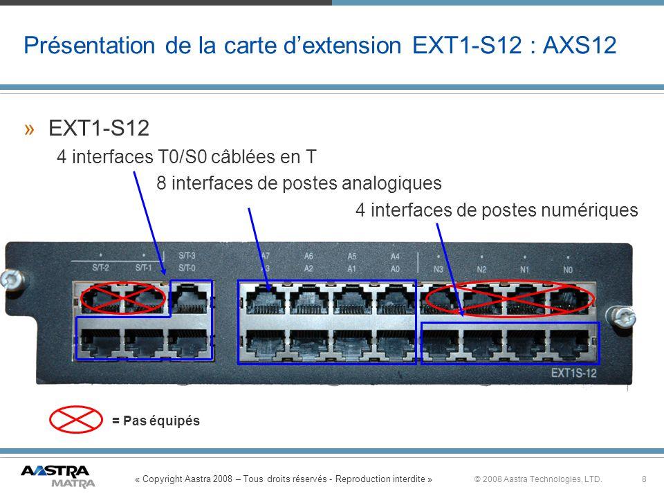 « Copyright Aastra 2008 – Tous droits réservés - Reproduction interdite » 8© 2008 Aastra Technologies, LTD. Présentation de la carte dextension EXT1-S