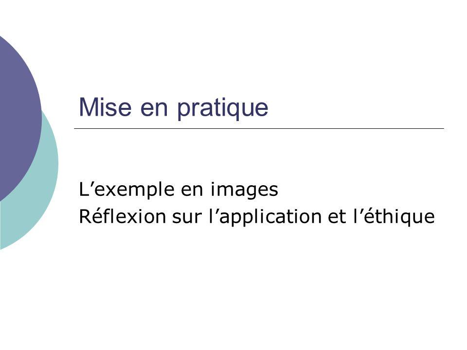Mise en pratique Lexemple en images Réflexion sur lapplication et léthique