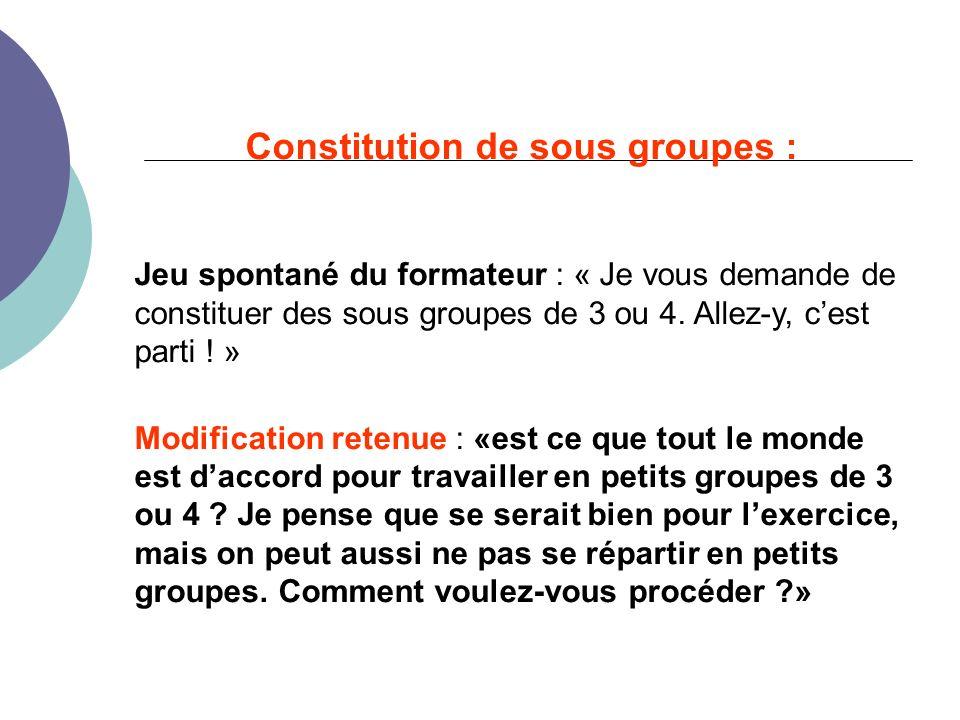 Constitution de sous groupes : Jeu spontané du formateur : « Je vous demande de constituer des sous groupes de 3 ou 4.