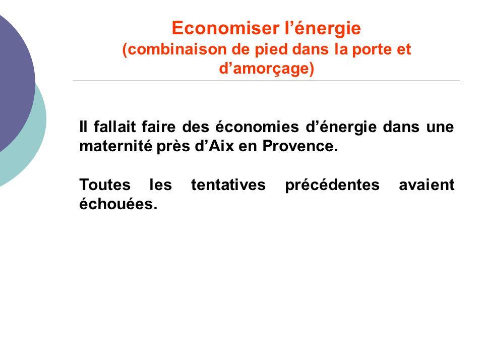 Economiser lénergie (combinaison de pied dans la porte et damorçage) Il fallait faire des économies dénergie dans une maternité près dAix en Provence.