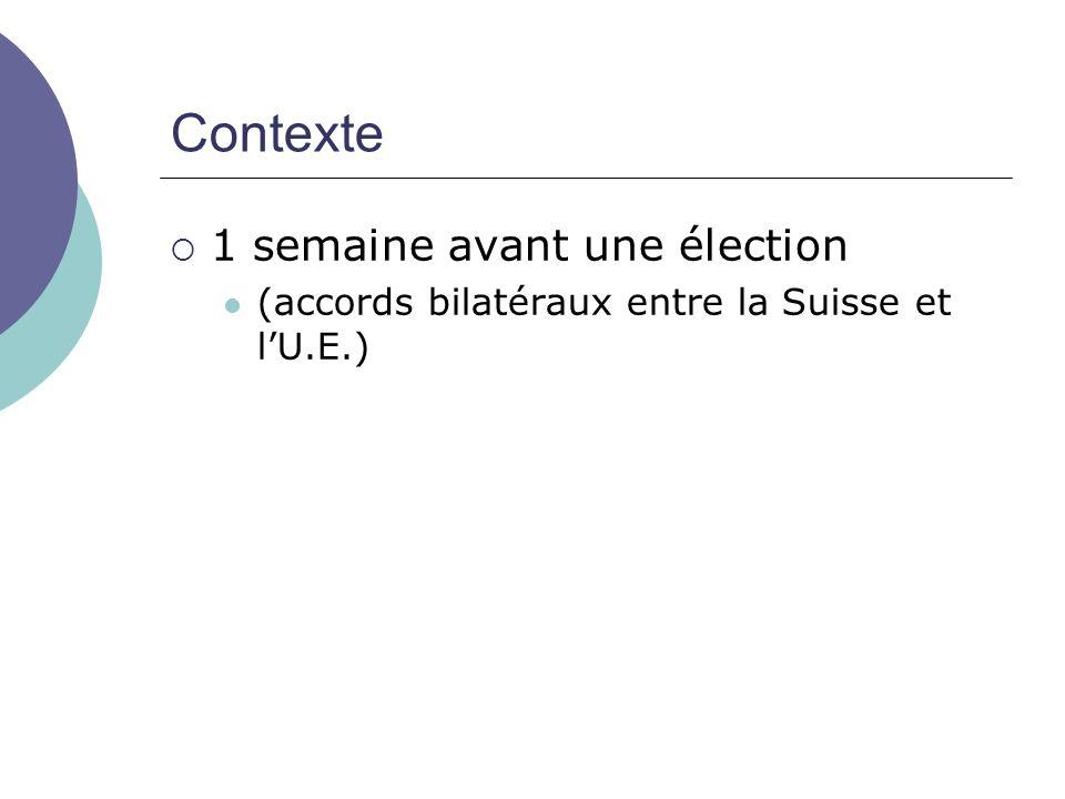 Contexte 1 semaine avant une élection (accords bilatéraux entre la Suisse et lU.E.)