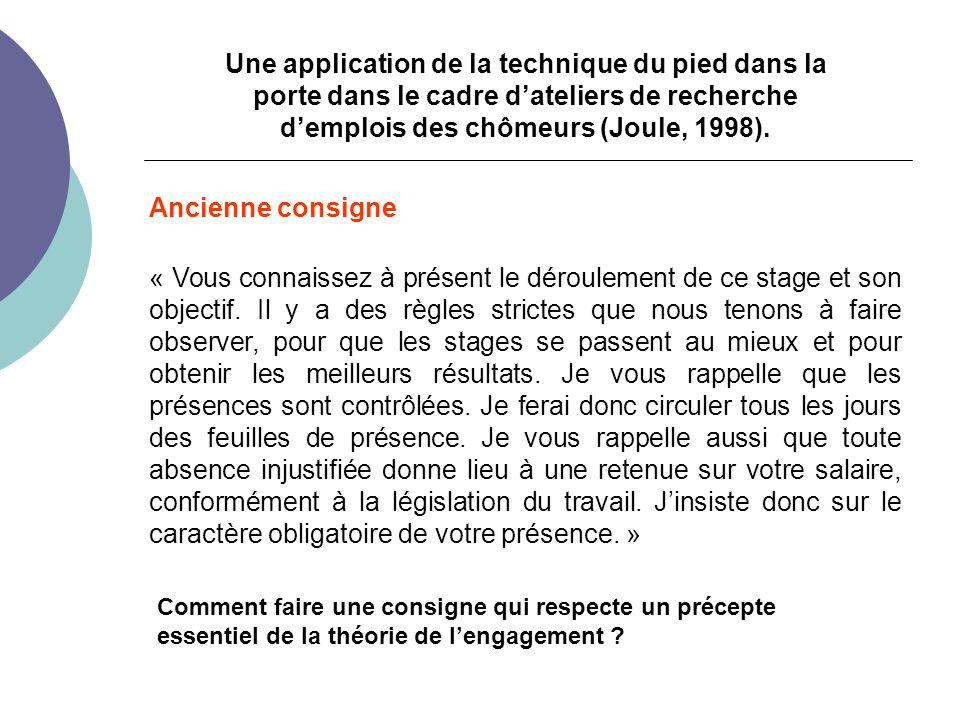 Une application de la technique du pied dans la porte dans le cadre dateliers de recherche demplois des chômeurs (Joule, 1998).