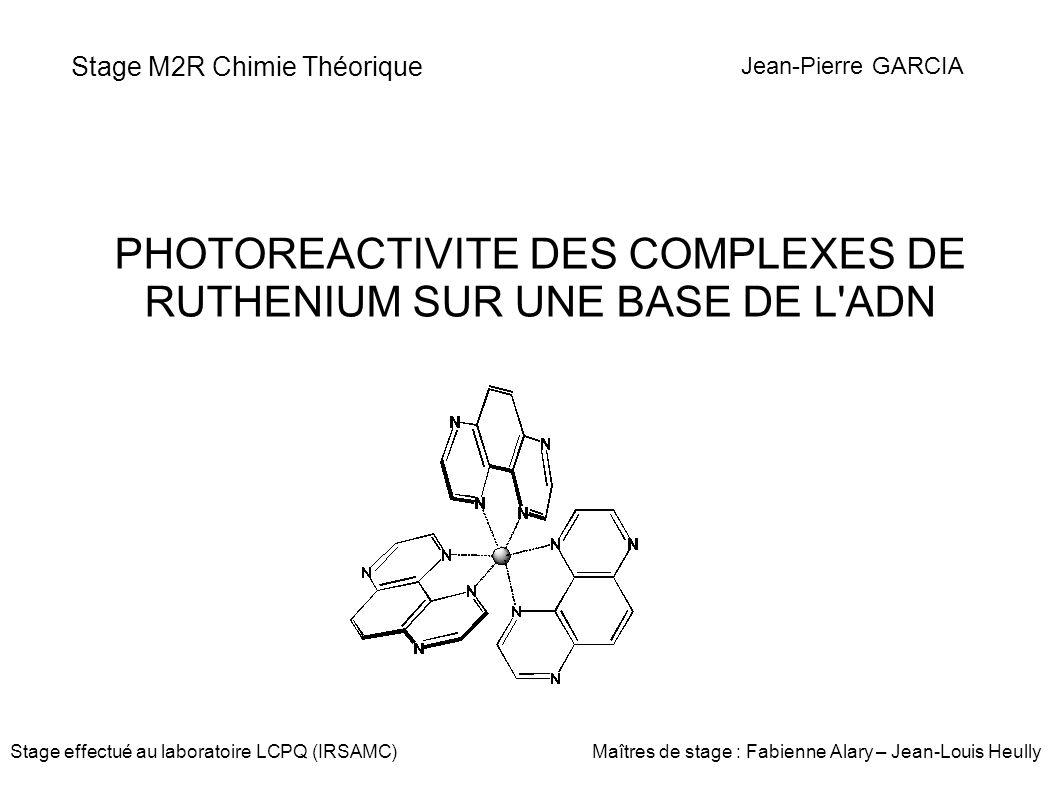 Stage M2R Chimie Théorique PHOTOREACTIVITE DES COMPLEXES DE RUTHENIUM SUR UNE BASE DE L'ADN Jean-Pierre GARCIA Stage effectué au laboratoire LCPQ (IRS