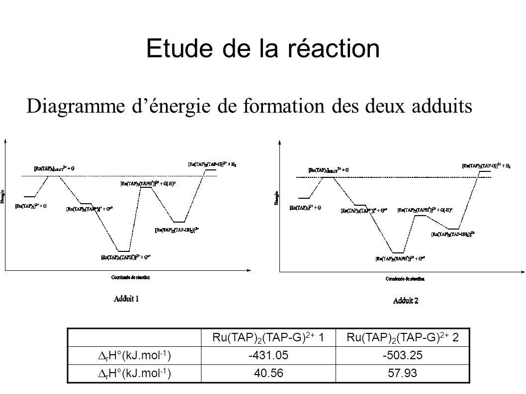 Etude de la réaction Diagramme dénergie de formation des deux adduits Ru(TAP) 2 (TAP-G) 2+ 1Ru(TAP) 2 (TAP-G) 2+ 2 r H°(kJ.mol -1 ) -431.05-503.25 r H