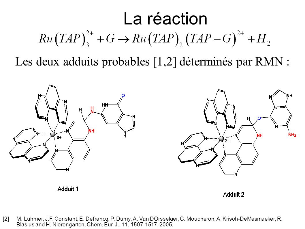 Etude de la réaction Diagramme dénergie de formation des deux adduits Ru(TAP) 2 (TAP-G) 2+ 1Ru(TAP) 2 (TAP-G) 2+ 2 r H°(kJ.mol -1 ) -431.05-503.25 r H°(kJ.mol -1 ) 40.5657.93