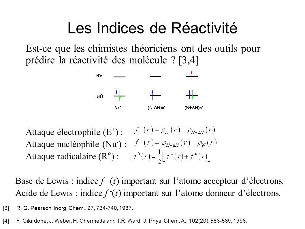 Les Indices de Réactivité Est-ce que les chimistes théoriciens ont des outils pour prédire la réactivité des molécule ? [3,4] Attaque électrophile (E